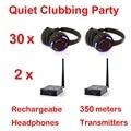 Беспроводные наушники Silent Disco compete system  черные светодиодные наушники  тихий комплект для клубов и вечеринок (30 наушников + 2 передатчика)