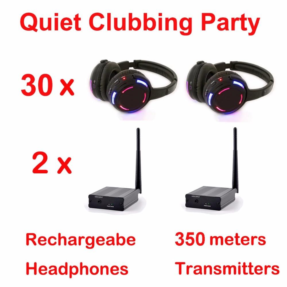 Silent Disco compete system black led wireless headphones – Quiet Clubbing Party Bundle (30 Headphones + 2 Transmitters)