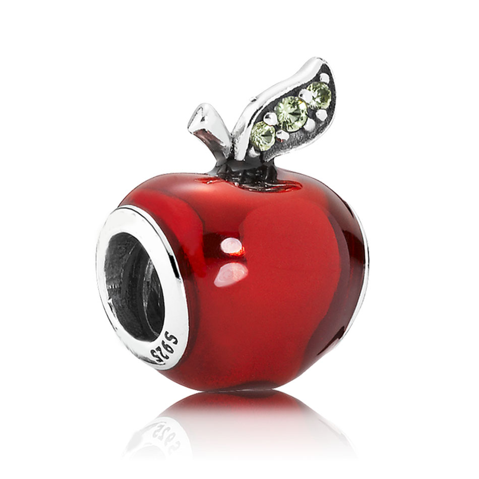 Authentic S925 Sterling Silver DIY Jewelry Snow Whites Apple Charms fit Pandora Bracelet Bangle Girl Gift Red EnamelAuthentic S925 Sterling Silver DIY Jewelry Snow Whites Apple Charms fit Pandora Bracelet Bangle Girl Gift Red Enamel