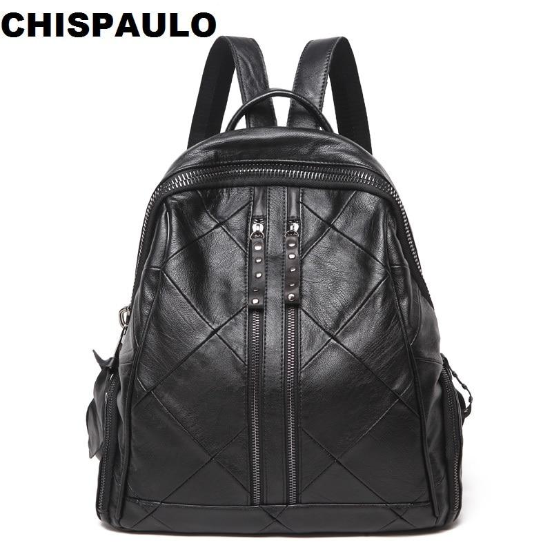Fashion Women Backpack Real Cowhide Genuine Leather Backpack Women Travel Bag Ladies School Bag For Teenagers Girls Mochila N062