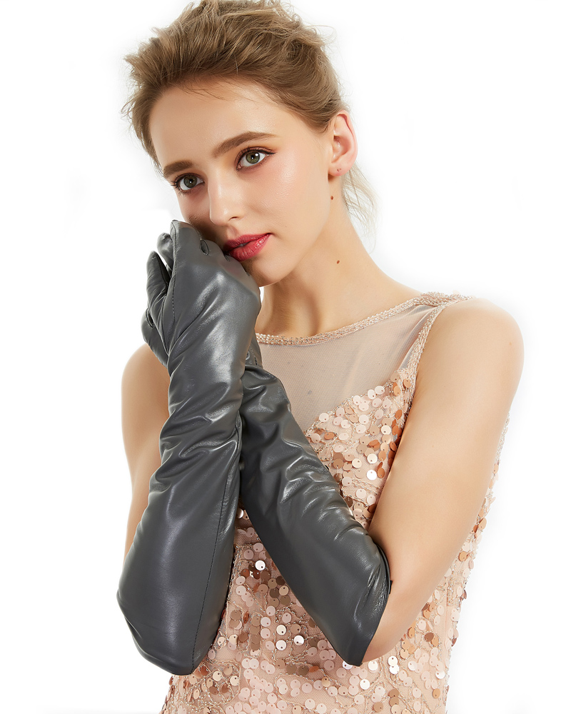 women elbow long real sheep leather soft elegant long gloves dark grey