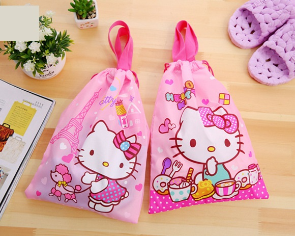 d39e9bb040 10pcs Kawaii Hello Kitty Portable Drawstring bags Girls Cosmetic Bags Women  Travel Pouch Clothes Storage handbag Makeup bag
