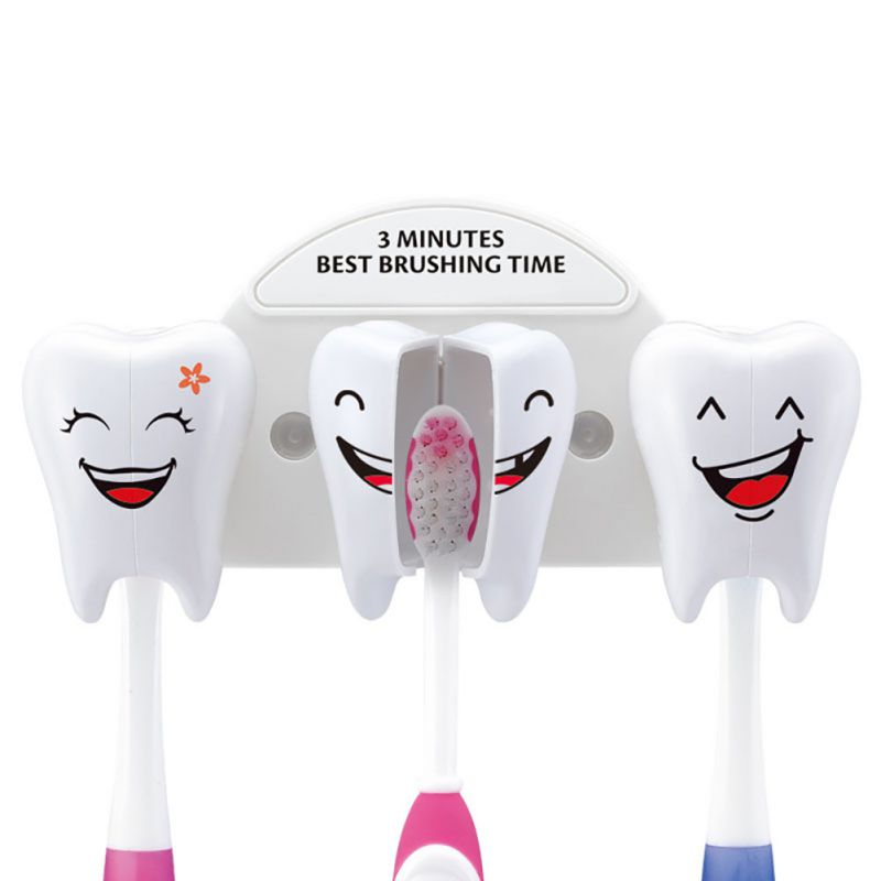 Holder Cartoon Toothbrush Stand Tooth Brush Shelf Bracket Container Bathroom Accessories Set Teeth Style Toothbrush image
