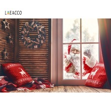 Laeacco Merry Christmas Day Santa Claus Gift Window Winter Pillow Baby Kid Photo Backdrop Photocall Photography Background