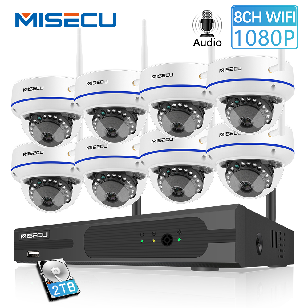 MISECU 8CH 1080P HD Wireless NVR System With 2 0MP Indoor Vandalproof Wifi Camera Audio Record