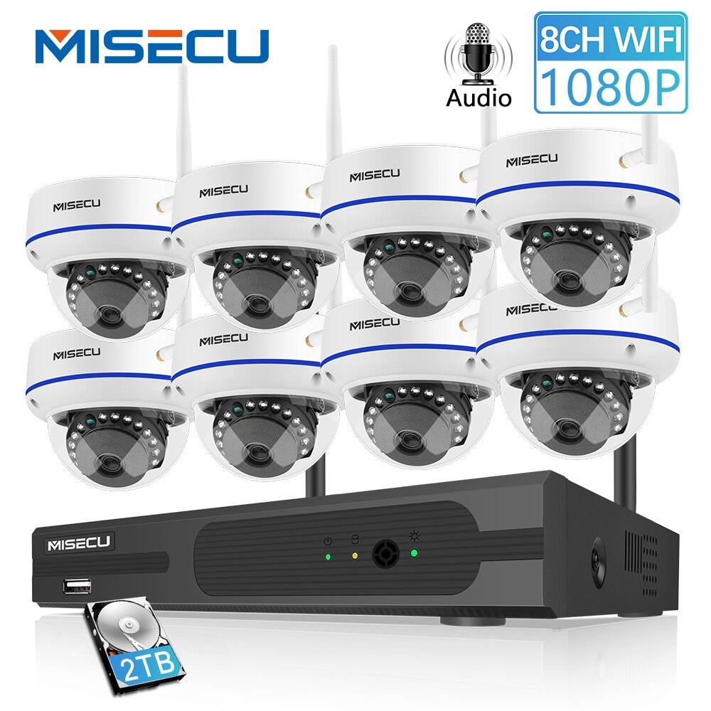MISECU 8CH Sistema NVR Com 2.0MP Vandalproof Interior 1080P HD Sem Fio Wi-fi Câmera Gravação de Áudio Noite IR Visão Vigilância kit