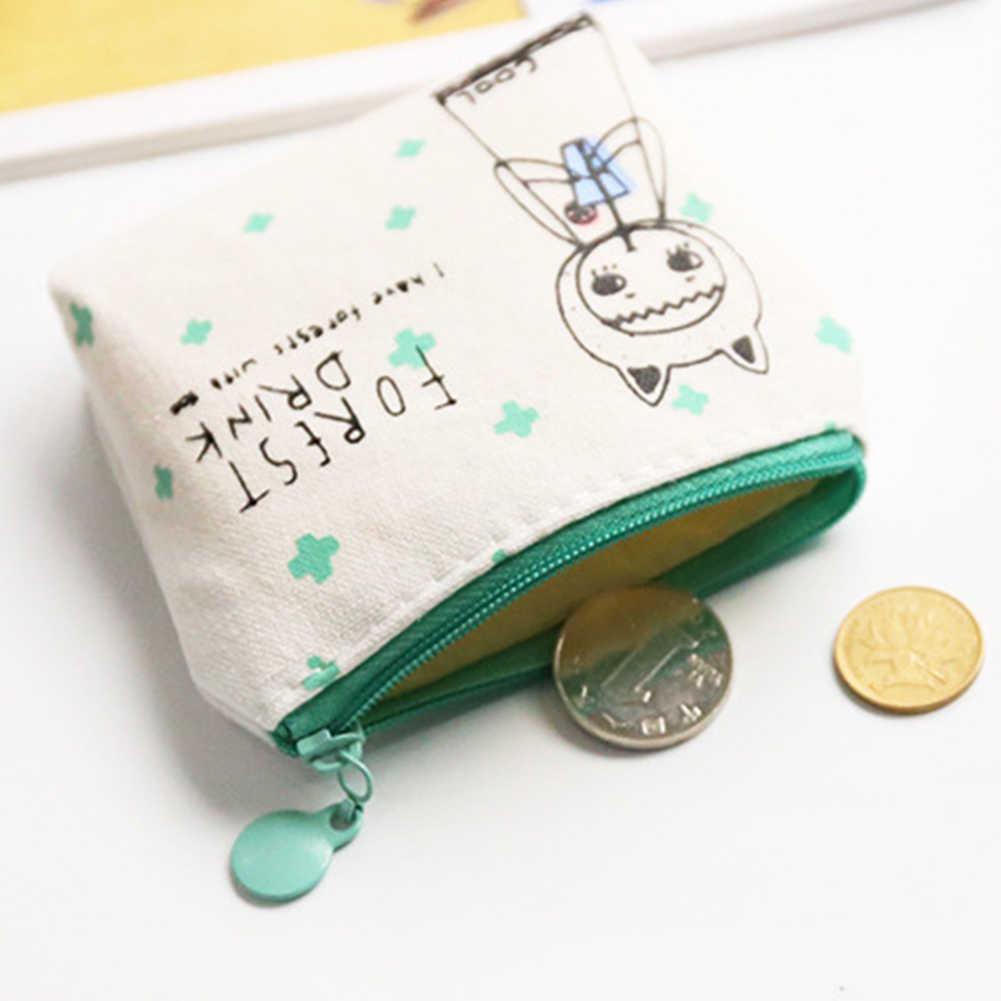 Moda Menina Dos Desenhos Animados Da Lona Pequena bolsa Com Zíper Bolsa Da Moeda Da Carteira Caso do Fone de ouvido Presente