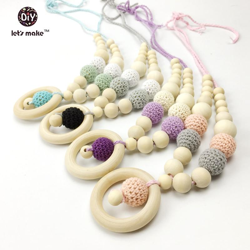 Chunky Crochet Round Natural Wood Beads DIY Baby Nursing Teething Jewelry Making