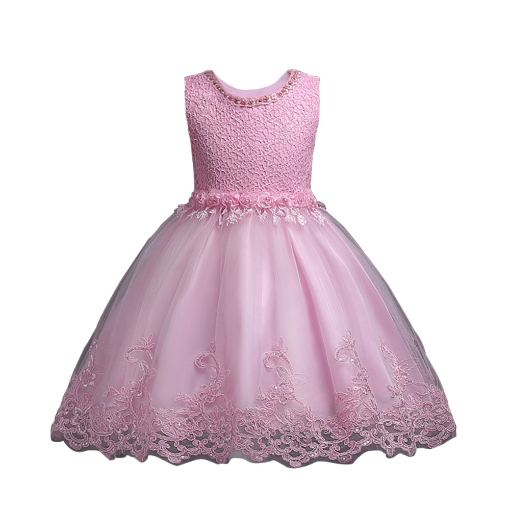 Wotogold Kids Sleeveless Flower Girl Dress Lace Tulle Pagent Formal Dress Four colors