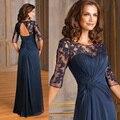 Azul marino Sin Respaldo Apliques Vestido de Madrina 2016 Elegante Encaje Madre de la Novia Viste Los Vestidos Plisado Vestido Madrina M2191