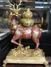 Palace Bronze Copper Cloisonne 24K Gold Gilt Gourd Calabash spotted deer Statue Enamel Cloisonne Decoration 100% Brass Bronze