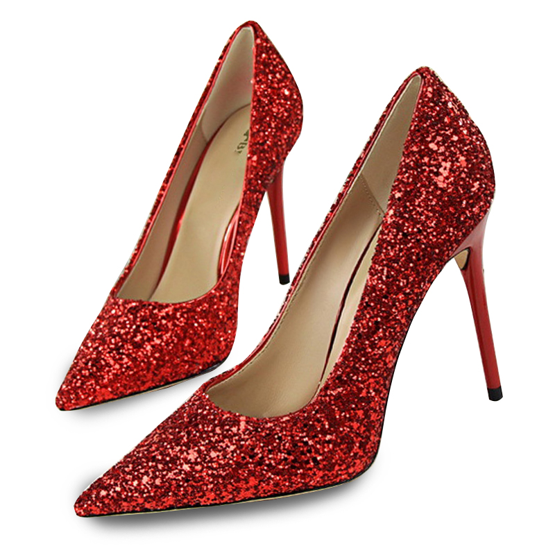 Women Pumps Fashion Red High Heels Shoes Women Bling Women Heels Female Party Shoes Stiletto Bigtree Ladies Shoes