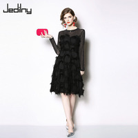 High Quality Sexy Women Black Dress 2019 Spring Fashion Long sleeved O neck Tassel Feather Stitching Party Dress