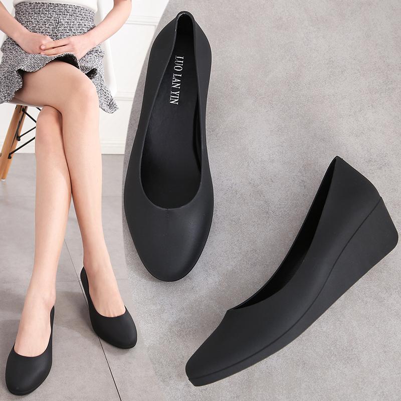 EOEODOIT Spring Autumn Wedges Heel Jelly Pumps Women Rain Shoes Sandals  Med Heel Height Increasing Jelly Shoes Slip On 2019