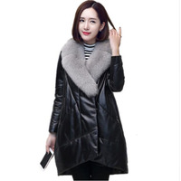 2019 New Women's Winter Leather Coat Fox Fur Collar Leather Down Jacket Long Sheep Leather Leather Fur Warm Outer