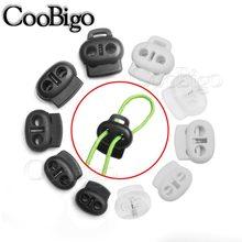 10 pçs 2 buraco plástico cabo de extremidade rolha bean cord lock toggle clip para vestuário corda cadarço mochila mochila saco de desporto acessórios