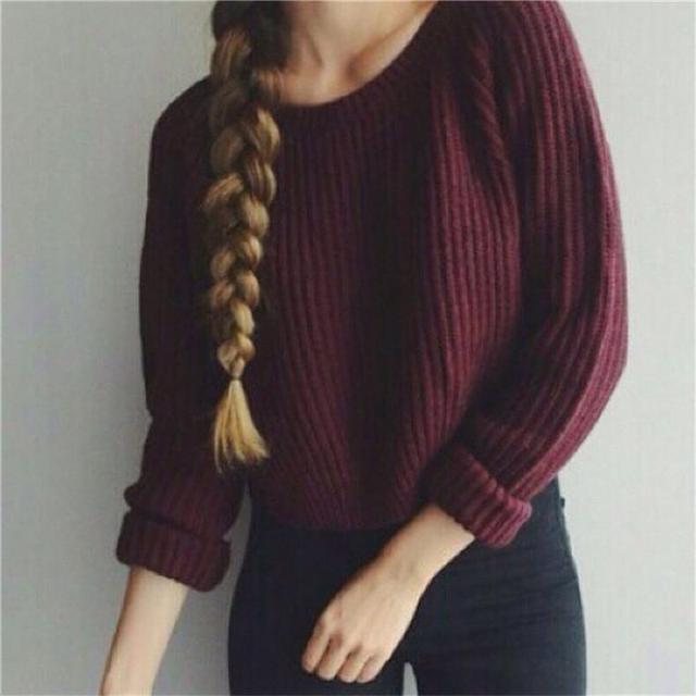 8b7d58e56cb2 Vino rojo mujeres suéter 2016 otoño suéter de punto vintage o-cuello suelta  Suéteres otoño
