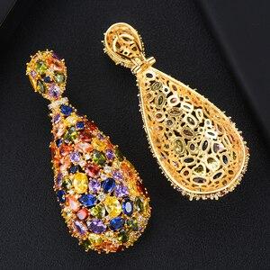 Image 5 - Роскошные сережки GODKI 75 мм Макси размера, свадебные сережки в форме капли с фианитом, модные ювелирные украшения