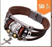 панк Винтаж стиль Wise веревку цепи натуральный кожи браслеты, ручной Plate теплые браслеты регулируемые браслеты длина