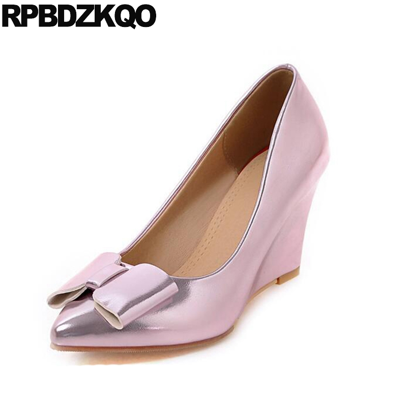 Women 10 42 Office Wedge Shoes Ladies 2017 Customized Pumps Crossdresser Size 4 34 3 Inch Metal Pink Plus Pointed Toe Bow 11 43