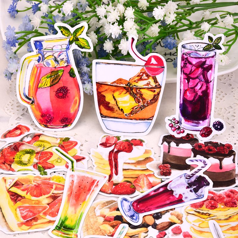 21pcs Delicious Dessert Drink Sticker Self-made Scrapbooking Decorative  Decoration /waterproof Paper Stationary Stickers