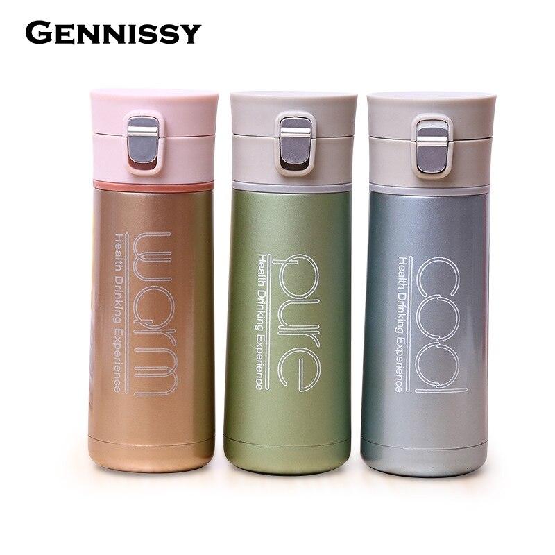 GENNISSY 350ml 500ml Sport Stainless Steel Travel Mug Tea Coffee Water Vacuum Flasks Creative Insulated Thermos