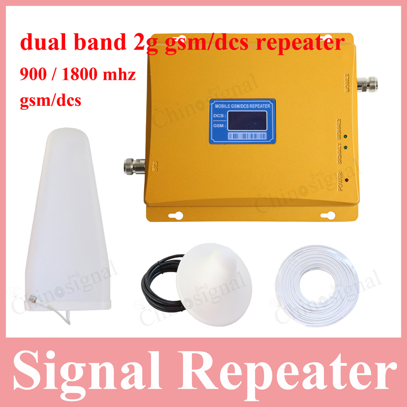 High gain LCD display dual band 900 1800 signal repeater for cellphone gsm900 dcs1800 mobile phone