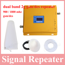 De alta ganancia de la pantalla LCD de doble banda 900 1800 repetidor de señal para el teléfono móvil gsm900 dcs1800 teléfono móvil amplificador de refuerzo para el hogar