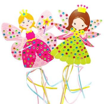 4 Uds niños DIY Hada de palo princesa materiales hechos a mano etiqueta para paquete palo mágico juguete chica regalo padre-niño juego