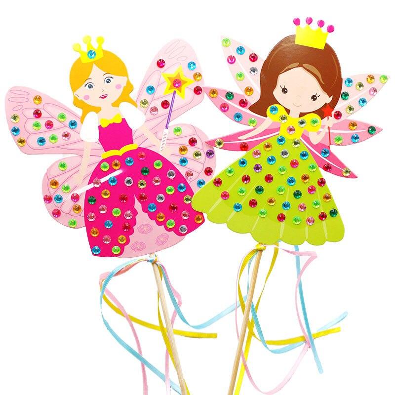 4PCS Children DIY Fairy stick Princess Handmade Materials Package Sticker Magic Stick toy Girl Gift Parent-child game