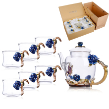 1Set New Enamel Painting Glass Coffee Mugs Luxury Cups with Handle Flower Tea Set Juice and Christmas Gifts