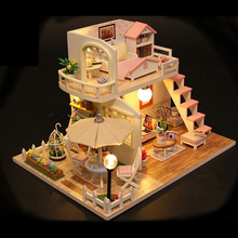 DIY  Miniature DollHous With LED Light Furnitures Creative Doll House Assembled Wooden Model Toys Gift Pink Loft M033 #E