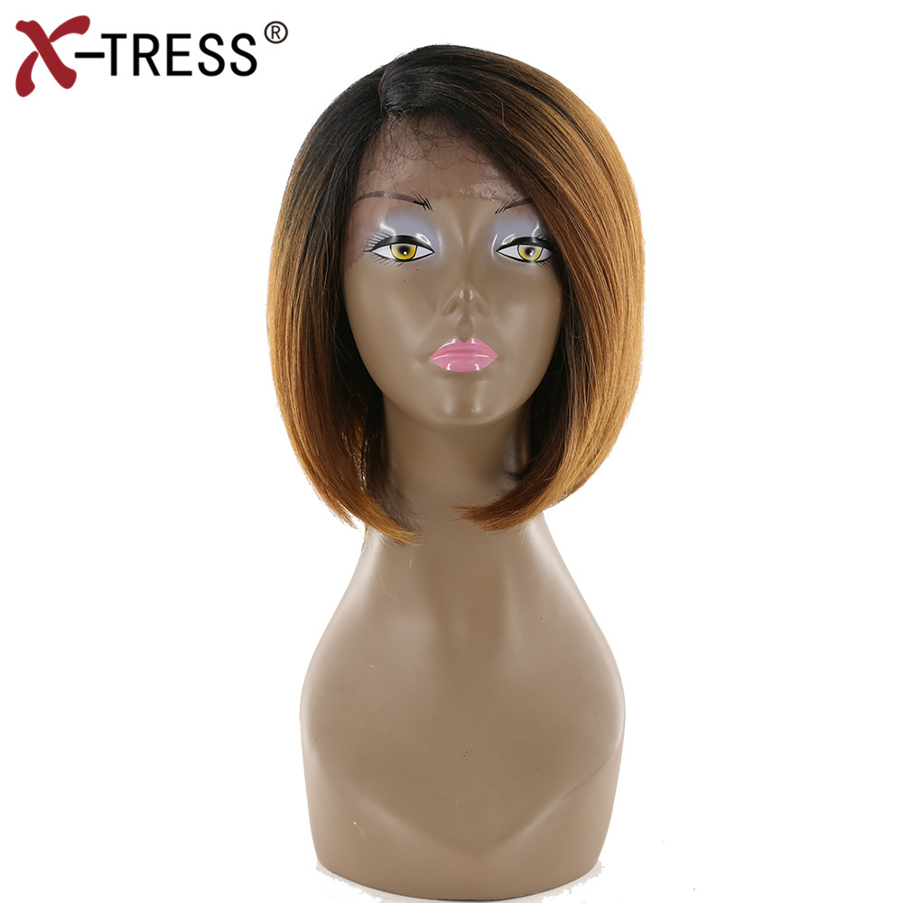 X-TRESS Short Bob Synthetic Lace Front Wig With Baby Hair short Side Part Ombre Brown Heat Resistant Straight Wig For Black Wome ...