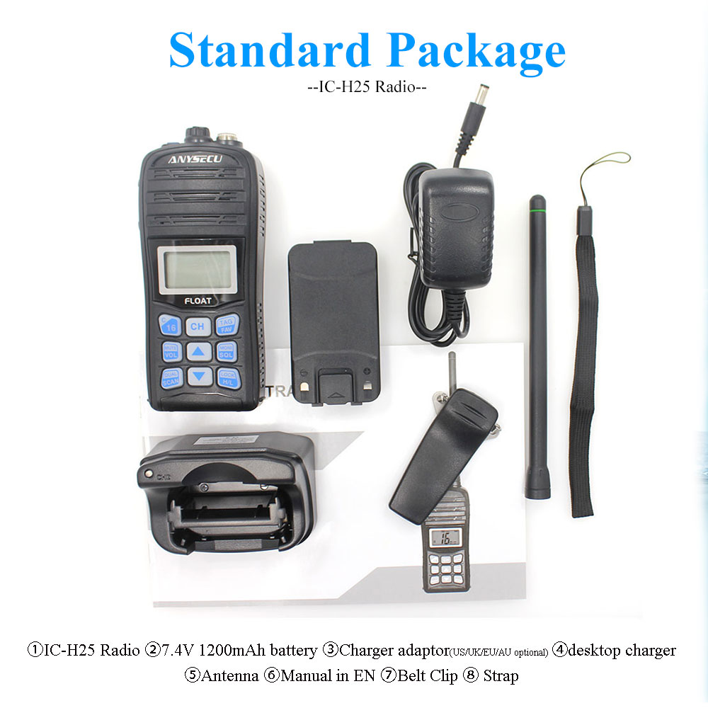 ANYSECU VHF Marine Radio IC-H25 IP67 Waterproof International Channel Weather channel Float Walkie Talkie Auto scan 2 way Radio