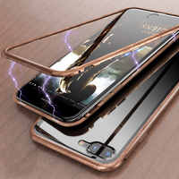 Wood grain metal border magnetic 9H Tempered glass shell Case For Iphone XS X cover For Iphone 7 8 Plus