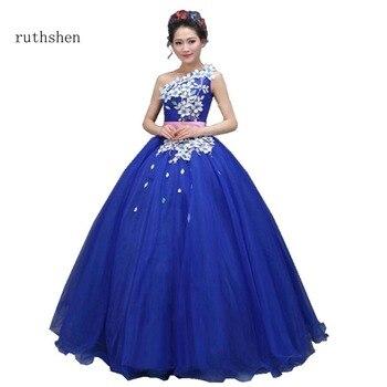 ruthshen  In Stock Vestidos De 15 Anos Cheap Quinceanera Dresses 2018 One Shoulder Appliques Sweet 16 Debutante Prom Gowns