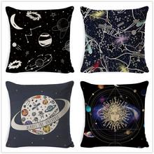 Fokusent Cartoon Galaxy Cushion Cover Funny Astronaut Spaceman Pillowcase Planets Seat Sofa Decorative Pillows Gift For Child(China)