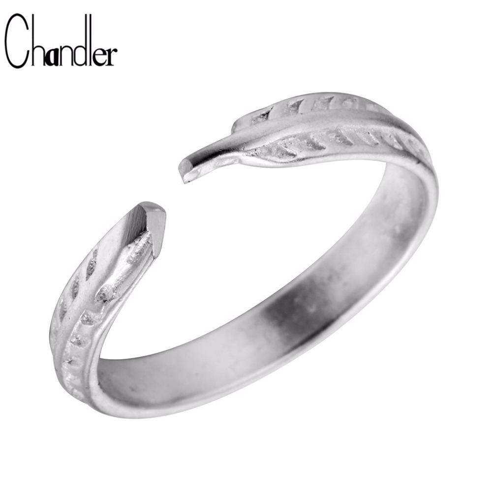 Chandle Brand 925 Sterling Silver Feather Rings For Women Simple Knuckle Toe Jewelry Two Finger Bague Medusa Fashion Accessaries
