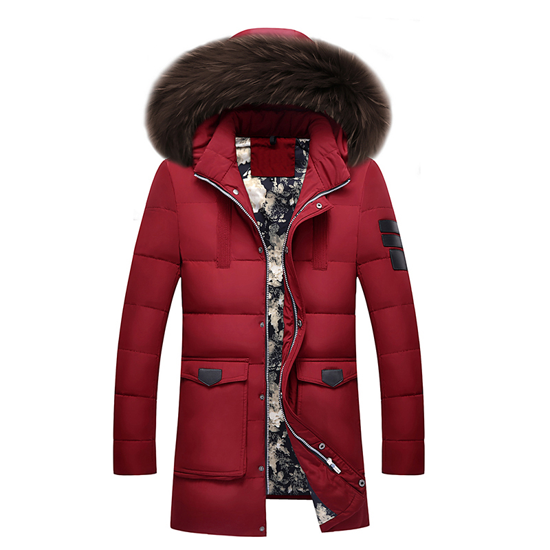 New brand down jacket 90%white duck down jacket coat winter warm coat casual men's down jacket natural fur collar hooded coat 2013 winter brand fashion luxury natural white fox fur collar hood denim jacket duck down jacket women outerwear s m l xl d2124