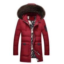 New brand down jacket 90%white duck down jacket coat winter warm coat casual men's down jacket natural fur collar hooded coat стоимость