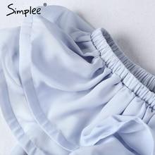 Simplee Chifon ruffle short dress women Off shoulder sleeveless beach summer dress 2017 Lining elastic band sexy dress vestidos