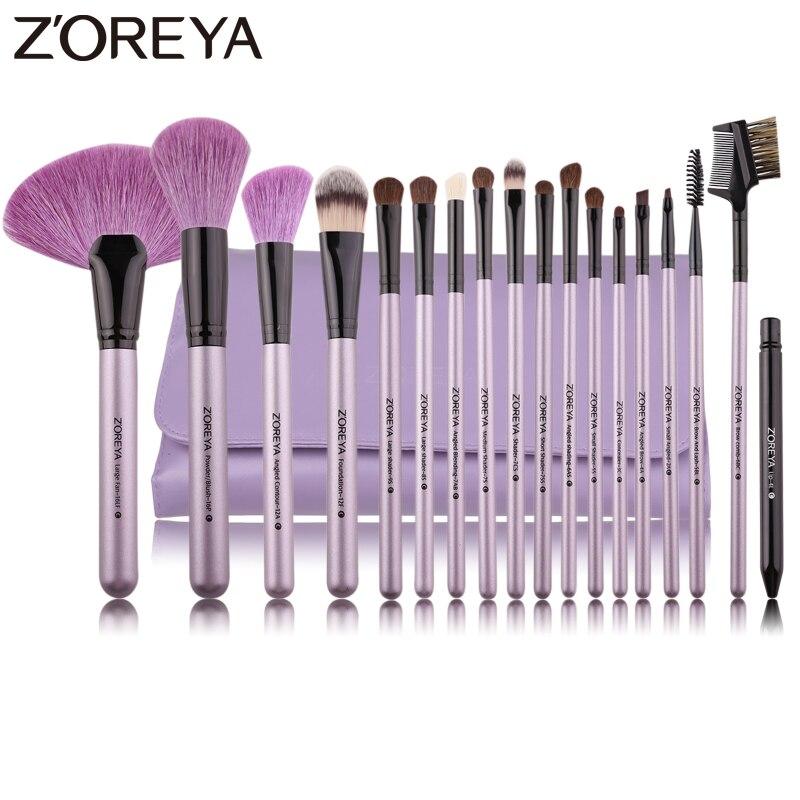 ZOREYA бренд 18 шт. естественный макияж кисти для макияжа мягкой щетиной пудра вентилятор косметический набор кистей глаз и губ макияж инструме...