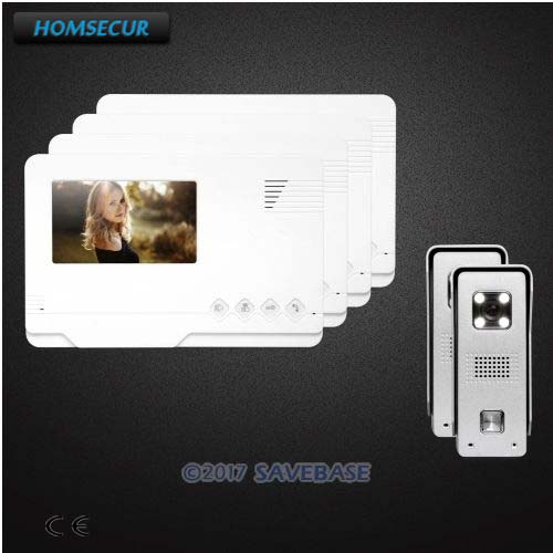 HOMSECUR 2V4 4.3 TFT LCD Video Door Phone Intercom System With CMOS 700TVLine Camera For Home Security