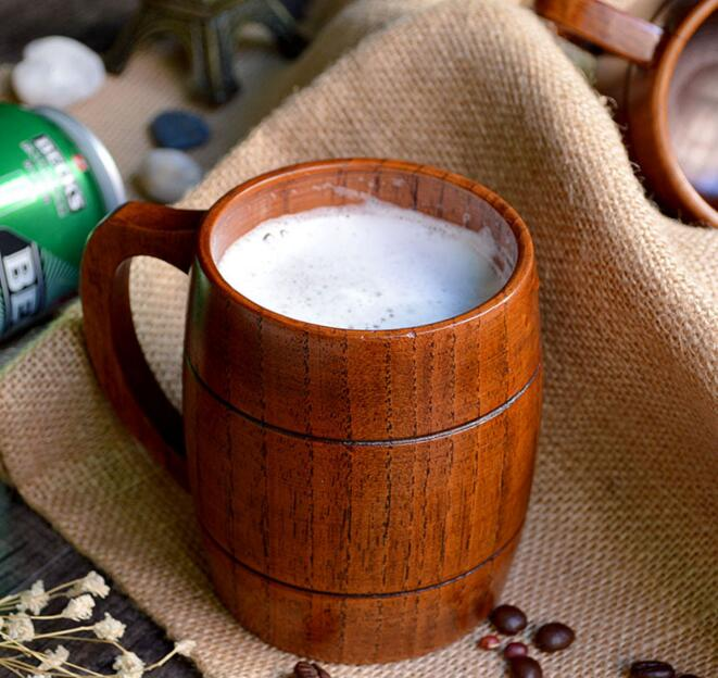 1pc Classic Style Natural Wood Cup Wooden Beer Mugs Drinking For Party Novelty Gifts Eco friendly