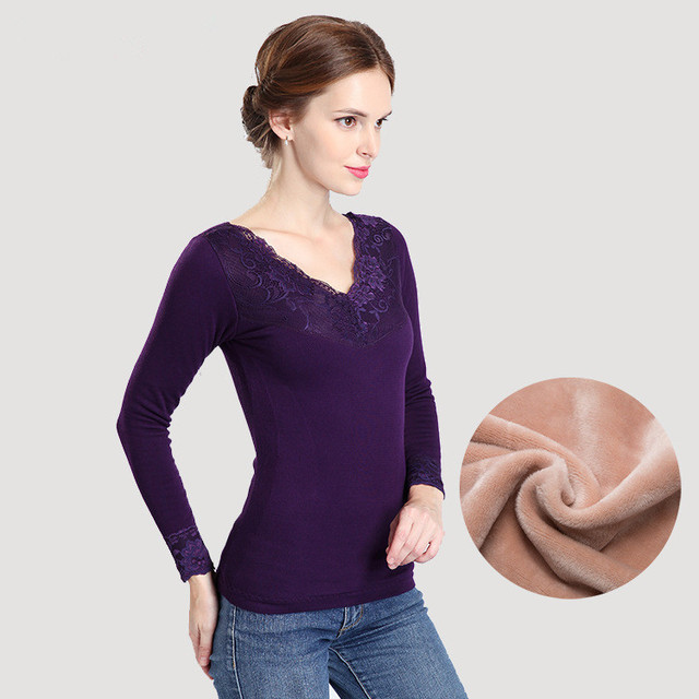 bd8e033629ec72 Plus Size Thicker Velvet Winter Womens Thermal Tops Seamless Bodycon Long  Johns Sexy V-neck Lace Warm Thermal Underwear