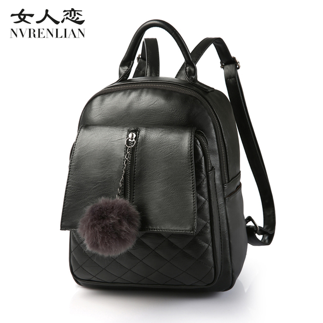 6316df1e39bb 2017 New Travel Backpack Korean Women Backpack Leisure Student Schoolbag  Soft PU Leather Women Bag