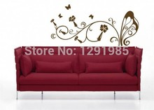Free Shipping Butterfly with Flower DIY Removable PVC Wall Sticker Home Decor Decals custom made home decoration fashion Poster