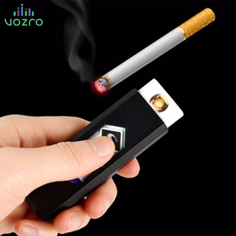 VOZRO Windproof USB Charging Cigarette Smokeless Flameless Gift Plasma Lighter Electronic Smoking Accessories Vape Gadgets Men-in Cigarette Accessories from Home & Garden