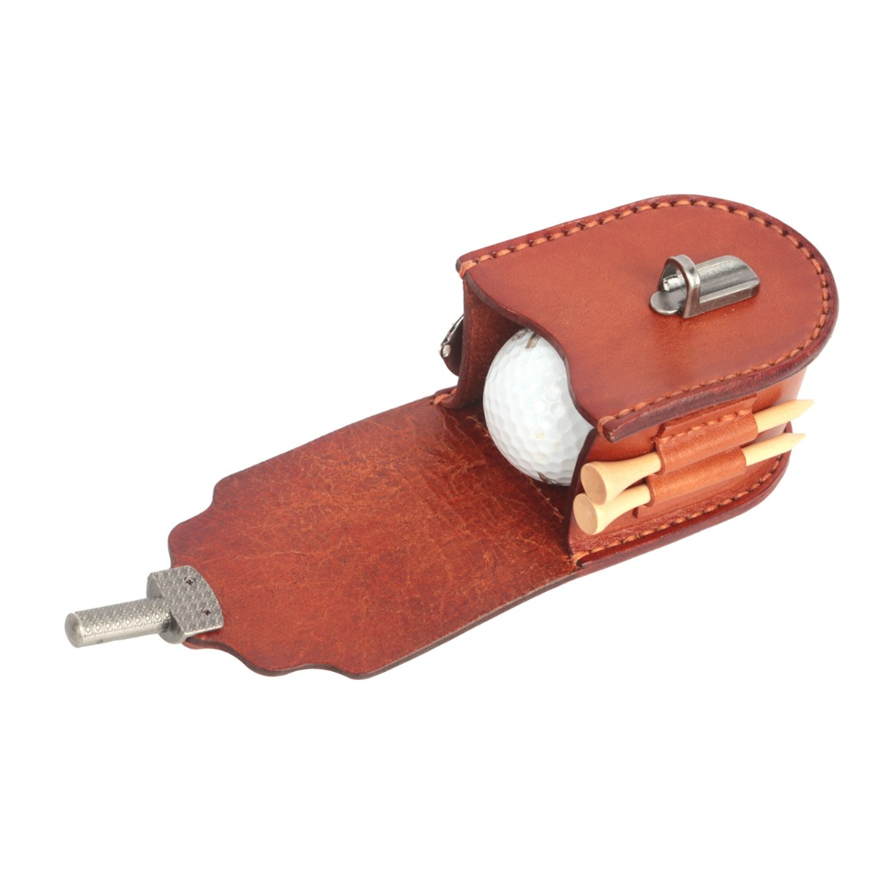 Tourbon Vintage Portable Golf Balls Pouch Tee Holder Storage 2 Balls Divot Tool Genuine Leather Golf Carrier Accessories