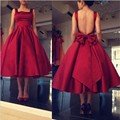 Lovely Red Tea Length Cocktail Dresses New Fashion Square Neck Backless Bow Short Party Dress Gowns Cheap